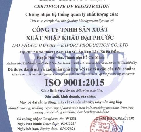Đại Phước đạt chứng nhận là hệ thống quản lý chất lượng theo tiêu chuẩn của WCERT – ISO 9001:2015
